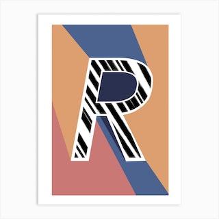 R Geometric Font Art Print