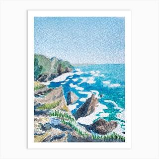 Watercolor Cliffs Art Print