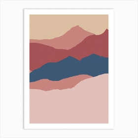 Abstract Navy And Pink Landscape Art Print
