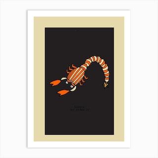 Retro Zodiac Scorpio Rectangular Art Print