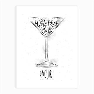 Daiquiri Cocktail White Background Art Print