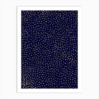 Dotted Gold And Navy Art Print