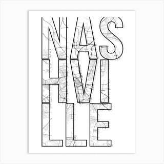 Nashville Street Map Typography Art Print