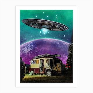 Camper Moon Paint Art Print