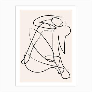 Deconstructed Lines Figure Natural Art Print