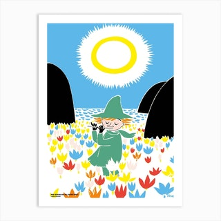 The Moomin Colour Collection Snufkin And Flowers Art Print