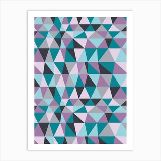 Irregular Triangles Purple Art Print