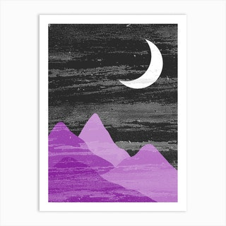 Moon And Mountains Ace Pride Art Print