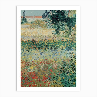 Garden In Bloom, Arles, July 1888 by Vincent van Gogh Art Print