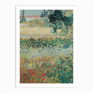 Garden In Bloom, Arles, July 1888 by Vincent van Gogh Art Print