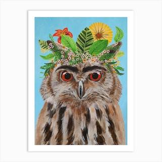 Frida Kahlo Owl Art Print