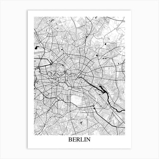 Berlin White Black Art Print