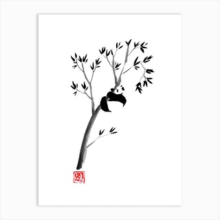 Panda In His Tree Art Print