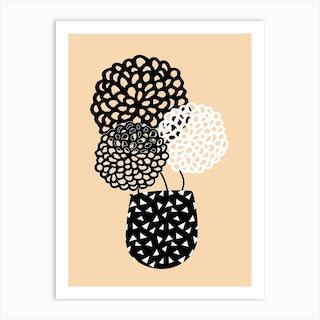 Hydrangeas Mustard Art Print