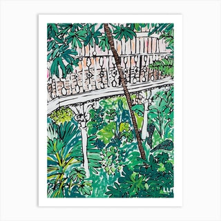 Kew Gardens Sunrise Jungle Painting Art Print