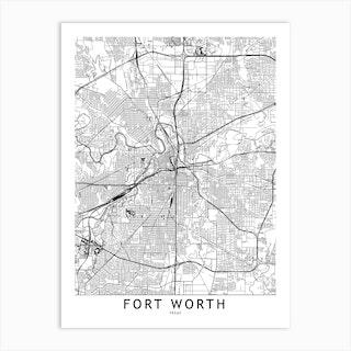Fort Worth White Map Art Print