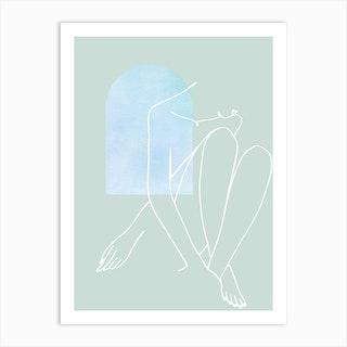 Line Art Woman Legs Crossed Looking Down Pastel Art Print