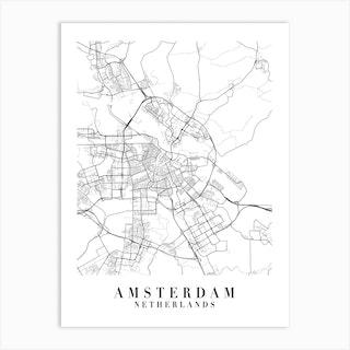 Amsterdam Netherlands Street Map Minimal Art Print