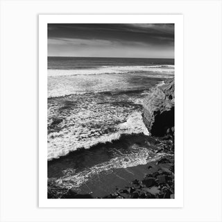 Monochrome Sunset Cliffs Art Print