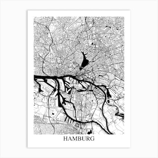 Hamburg White Black Art Print