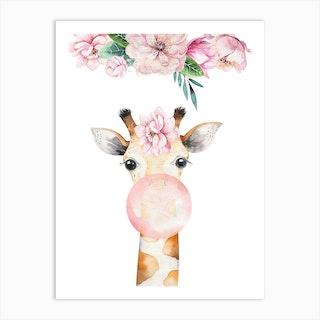 Floral Giraffe Blow Gum Art Print