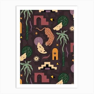 Ancient Jungle Pattern Art Print