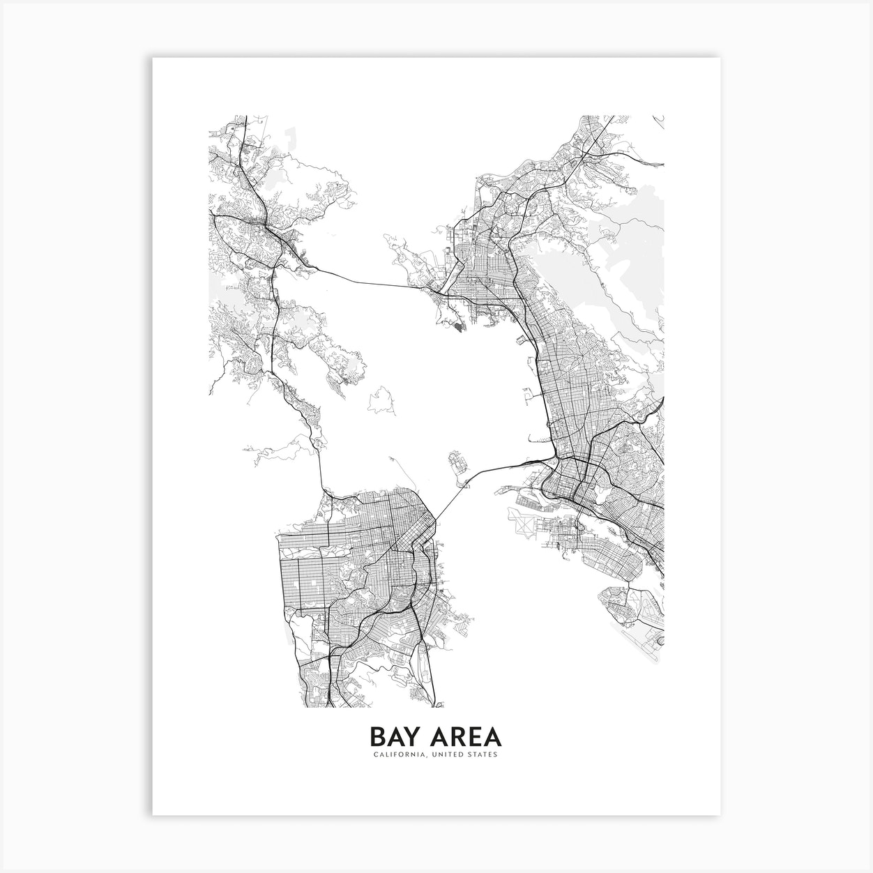 Bay Area Art Print By Atlas Prints Fy Administrative map of the california region san francisco bay area. bay area art print