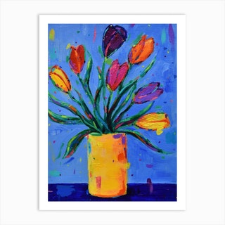 Tulips In A Yellow Vase Art Print