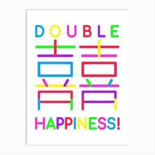 Double Happiness White Art Print