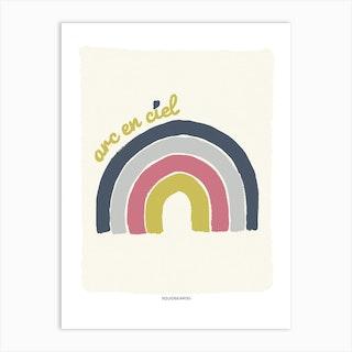 Rainbow In Mustard And Blue Art Print