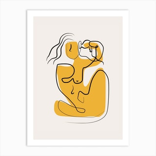 Line Art Nude Blowing Hair Art Print
