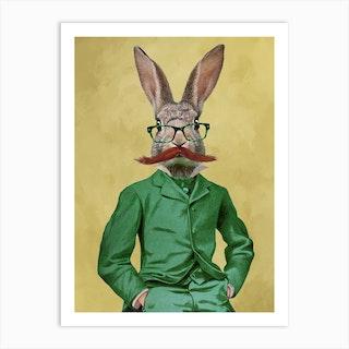 Rabbit With Moustache Art Print