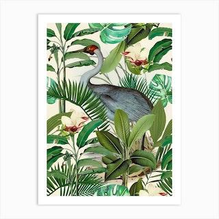 Tropical Heron Art Print