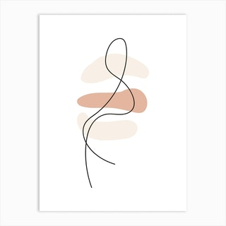 Abstract Lines Neutral Shapes Art Print