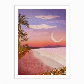 Beach Moon Art Print