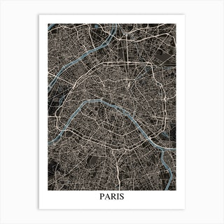 Paris Black Blue Art Print