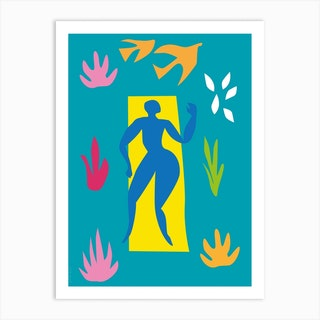Blue Sunbather Art Print