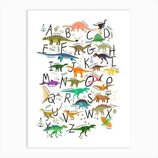 Colourful Dinosaur Alphabet Art Print