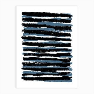 Blue And Black Stripes Art Print