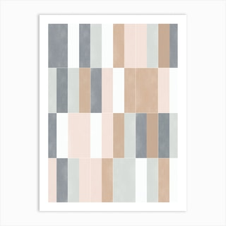Muted Pastel Tiles 02 Art Print