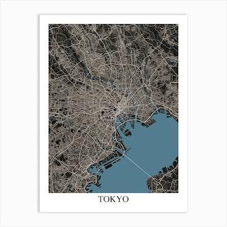 Tokyo Black Blue Art Print