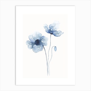 Blue Abstract Poppies 1 Art Print