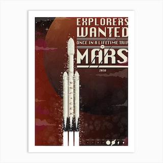 Spacex Mars Art Print