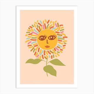 Sunflower Opened Eyes Peachy Boho Art Print