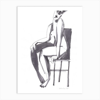 Nude On A Chair Art Print