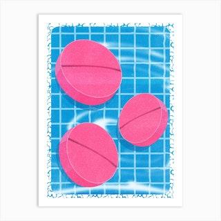 Summer Pool Pills Art Print