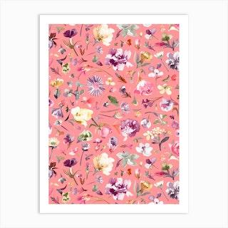 Flower Buds Coral Pink Art Print