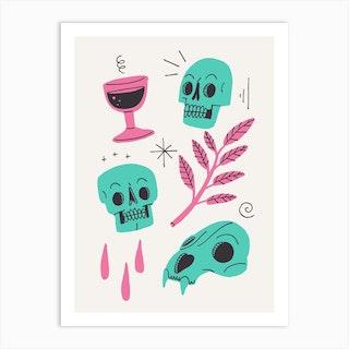 Skulls And Wine Light Art Print