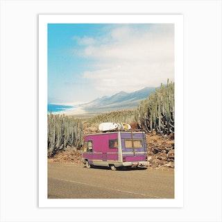 Roadtrip With A Pink Surf Van Art Print