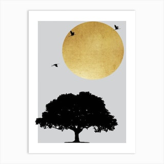 Gold Sun And Tree Abstract Art Print
